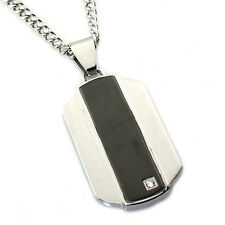 Men's Stainless Steel Two-Tone Engravable Dog Tag Pendant w/ CZ