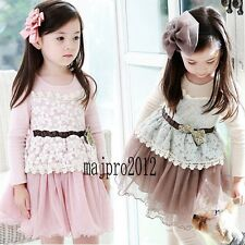 Hot Girls Dress Kids Lace Splice Dresses Children Party Birthday Clothes FT144