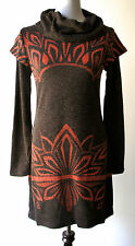 Anthropologie vintage layered mod brown orange turtleneck sweater dress-stunner!