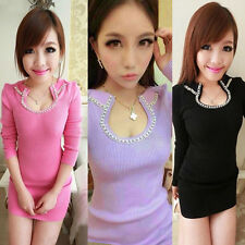 WOMEN Gir LONG SLEEVE WARM KNIT SLIM Fit TUNIC GIRL SWEATERS PULLOVER MINI DRESS
