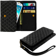 Black Luxury Wallet Flip Pouch Case Cover Card ID Holder Lanyard for Phones