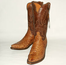Full Quill Ostrich Skin Lucchese (7-EE)  Men's N1062 Tan Burnish Boots Snip Toe