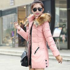 Women's Winter Down Jacket Long Coat Hooded Big Fur Collar Warmer Parka