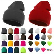 Fashion Plain Beanie Ski Cap Skull Hat Warm Solid Color Winter Cuff New Unisex