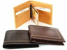 Leather Double Bill Bifold 6 Credit Card 2 ID Window Stitch Design Men's Wallet