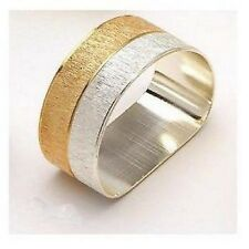 Gold & Silver Textured Flat Bottomed Napkin Rings Set