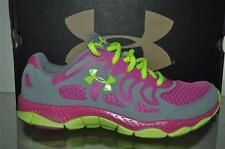 Under Armour Girls Micro G Engage Running Shoes 1245161 035 Gray/Yellow/Pink NIB