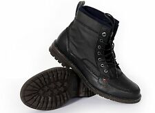 Tommy Hilfiger Men's Leather Boots Beacon Black Multi New With Box Authentic