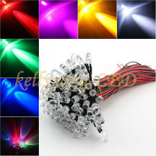HOT 100PCS Pre wired 3mm Bright LEDs Bulb 20cm Prewired DC12V LED Bulb Lamp XMAS