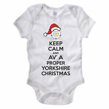 KEEP CALM AND AV A PROPER YORKSHIRE CHRISTMAS - Funny Themed Baby Grow/Suit