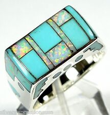 Turquoise & White Fire Opal Inlay Solid 925 Sterling Silver Men's Ring Sz 8 - 13