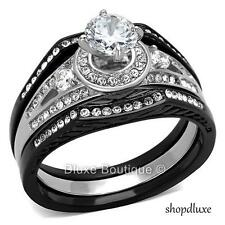 2.15 CT HALO ROUND CUT CZ BLACK STAINLESS STEEL WEDDING RING SET WOMEN'S SZ 5-10