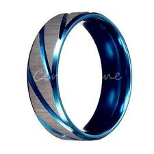 Men's Fashion Blue Silver Brushed Stainless Steel Wedding Band Ring Jewelry Gift