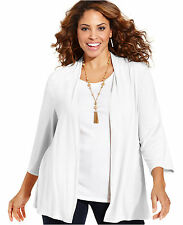 CHARTER CLUB $44 Lightweight Packable Knit Cardigan 16 0X 18W 1X 20W 22W 2X M48