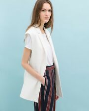 ZARA New Collection 2014 COMBINED WAISTCOAT White size  XS