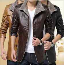 Fashion Men Winter Jacket PU Leather Coat Parka Fleece Trench Warm Slim Coat