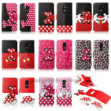 3D Bow Cute Stand Wallet Card Holder Magnetic Flip Leather Case For LG Phone New