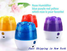 New Rose USB Portable Mini Ultrasonic LED Linghting Humidifier Air Mist Purifier