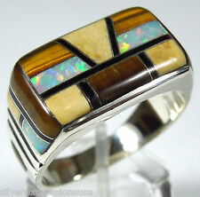 Southwestern Multistone Inlay and Opal 925 Sterling Silver Men's Ring Size 8-12