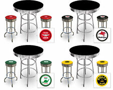 FC572 VINTAGE GAS GARAGE AUTO SHOP THEMED ROUND BAR TABLE & CHROME STOOLS SET