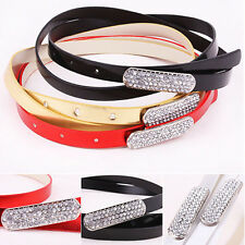 Fashion Women's Crystal Rhinestone Head Thin Skinny Candy Color Waistband Belt