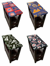 FC97 CAPPUCCINO ESPRESSO FINISH SPORTS THEME GLASS END TABLE NIGHTSTAND w DRAWER