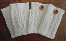 Boot Cuffs Boot Toppers with or without Buttons Cable Knit Boot Cuffs Ivory NEW