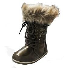 ZARA Girl's Bronze Snow Boots with Fur Inside for Youth Girls and Women, 7