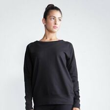 Skinnifit Ladies Wide Neck Slounge Sweatshirt 100% Cotton Black, Grey S-XL