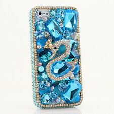 iPhone 6 6S / 6S Plus 5S Bling Crystals Case Cover Diamond Blue Swan Luxury