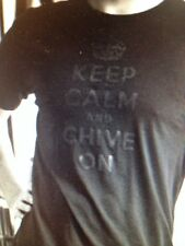 "the Chive *Authentic* ""Keep Calm and Chive On"" Black on Black t-shirt M L XL XXL"