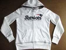 NFL New England Patriots Womens White Sherpa Full Zip Hoodie Jacket Minor Defect
