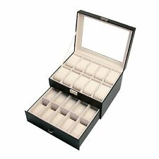 New 20/12/6 Slot Leather Watch Box Display Case Organizer Glass Top Jewelry Box