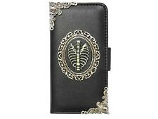 Vintage Bone Wallet Leather Case Cover For Apple iPhone 4 4G 4S 5 5G 5S N Black