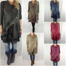 New Ladies Layering Lagenlook Quirky Mohair Dress Long Tunic Dress Top OSFM