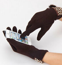 New Women Men Knitted Hand Wrist Warmer Leopard Winter Touch Screen Gloves