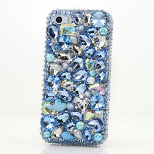 iPhone 6 6S / 6S Plus 5S Bling Crystal Case Cover Blue AB Pearls Diamonds Luxury