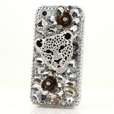 iPhone 6 6S / 6S Plus 5S Bling Crystal Case Cover Silver Leopard Black Roses