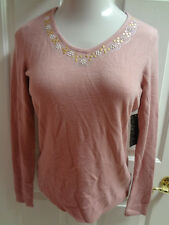 DEBBIE MORGAN Casual V-Neck Riveted Sweater Pink Black Red Womens S M XL $44 NWT