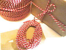 10, 20 or 30 mts  red Stripey Cotton Bakers Twine for vintage tags & gift wrap