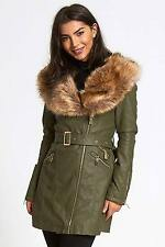 Womens Faux Leather Fur Collared Long Jacket Ladies Coat Size UK 8-14
