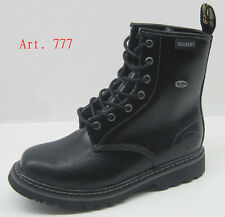BLACK DOCKERS LADIES LACE UP DR MARTEN STYLE ANKLE BOOTS MILITARY COMBAT CELEB*