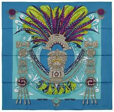 NEW Authentic Hermes Silk Scarf MEXIQUE Caty Latham Blue