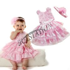 Xmas Outfit Girls Baby Princess Party Pageant Wedding Rose Flower Dress Headband