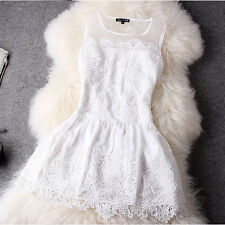 Sexy Women Ladies Party Wear Evening Cocktail White Sleeveless Mini Lace Dress
