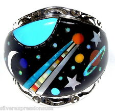 Galaxy Inlay Multicolor & Fire Opal 925 Sterling Silver Men's Ring Size 9-11