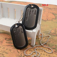 Military Army Style Black 2 Dog Tags Chain Mens Pendant Necklace--US   HC