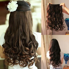 """19"""" Long Curly Wavy 5 Clips In On Hair Extensions Full Head Top Ladies Women"""