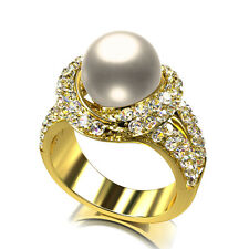 Women's Ring Pearl Zirconia WHITE 750er Gold 18 K Plated Size. Selectable R1166