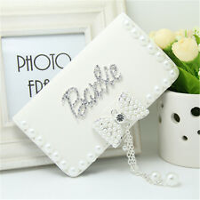 Fashion Diamond Barbie pearl bow PU leather flip wallet Case For iPhone